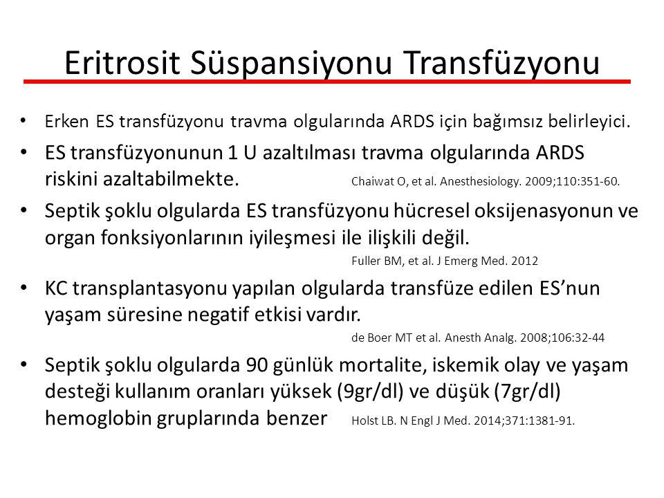 Eritrosit Süspansiyonu Transfüzyonu Erken ES transfüzyonu travma olgularında ARDS için bağımsız belirleyici. ES transfüzyonunun 1 U azaltılması travma