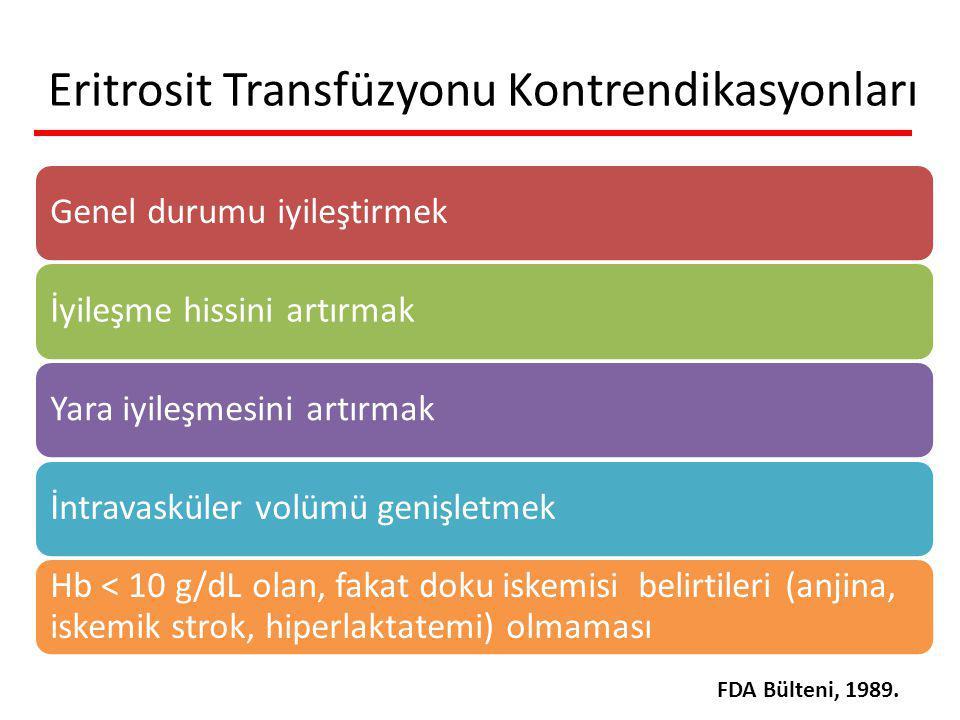Eritrosit Transfüzyonu Kontrendikasyonları Genel durumu iyileştirmekİyileşme hissini artırmakYara iyileşmesini artırmakİntravasküler volümü genişletmek Hb < 10 g/dL olan, fakat doku iskemisi belirtileri (anjina, iskemik strok, hiperlaktatemi) olmaması FDA Bülteni, 1989.