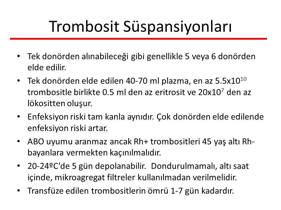 Trombosit Süspansiyonları Tek donörden alınabileceği gibi genellikle 5 veya 6 donörden elde edilir. Tek donörden elde edilen 40-70 ml plazma, en az 5.