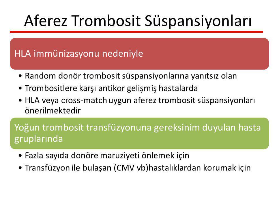 Aferez Trombosit Süspansiyonları HLA immünizasyonu nedeniyle Random donör trombosit süspansiyonlarına yanıtsız olan Trombositlere karşı antikor gelişmiş hastalarda HLA veya cross-match uygun aferez trombosit süspansiyonları önerilmektedir Yoğun trombosit transfüzyonuna gereksinim duyulan hasta gruplarında Fazla sayıda donöre maruziyeti önlemek için Transfüzyon ile bulaşan (CMV vb)hastalıklardan korumak için