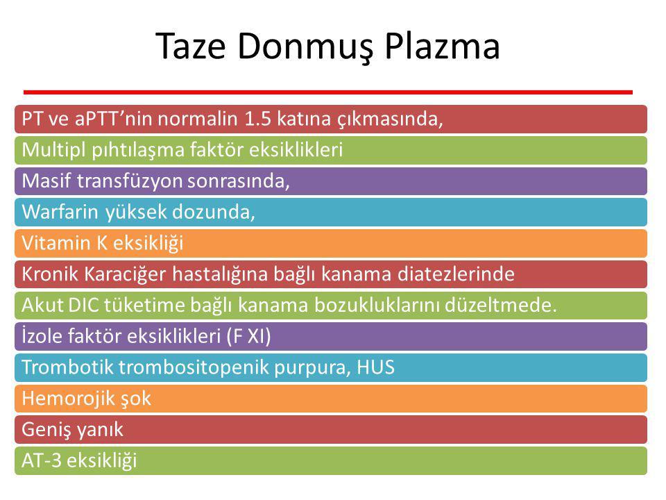 Taze Donmuş Plazma PT ve aPTT'nin normalin 1.5 katına çıkmasında,Multipl pıhtılaşma faktör eksiklikleriMasif transfüzyon sonrasında,Warfarin yüksek dozunda,Vitamin K eksikliğiKronik Karaciğer hastalığına bağlı kanama diatezlerindeAkut DIC tüketime bağlı kanama bozukluklarını düzeltmede.İzole faktör eksiklikleri (F XI)Trombotik trombositopenik purpura, HUSHemorojik şokGeniş yanıkAT-3 eksikliği