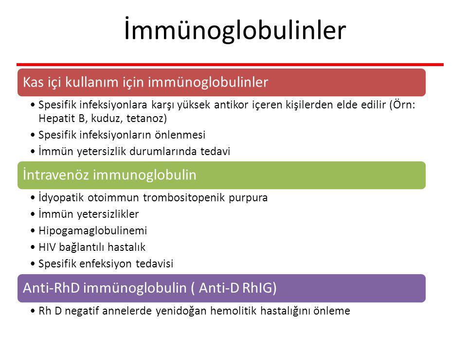 İmmünoglobulinler Kas içi kullanım için immünoglobulinler Spesifik infeksiyonlara karşı yüksek antikor içeren kişilerden elde edilir (Örn: Hepatit B, kuduz, tetanoz) Spesifik infeksiyonların önlenmesi İmmün yetersizlik durumlarında tedavi İntravenöz immunoglobulin İdyopatik otoimmun trombositopenik purpura İmmün yetersizlikler Hipogamaglobulinemi HIV bağlantılı hastalık Spesifik enfeksiyon tedavisi Anti-RhD immünoglobulin ( Anti-D RhIG) Rh D negatif annelerde yenidoğan hemolitik hastalığını önleme