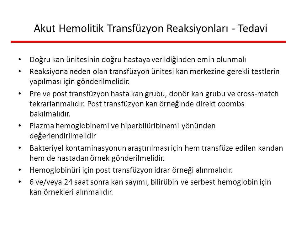 Akut Hemolitik Transfüzyon Reaksiyonları - Tedavi Doğru kan ünitesinin doğru hastaya verildiğinden emin olunmalı Reaksiyona neden olan transfüzyon ünitesi kan merkezine gerekli testlerin yapılması için gönderilmelidir.