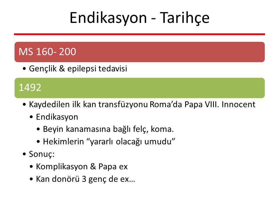 Endikasyon - Tarihçe MS 160- 200 Gençlik & epilepsi tedavisi 1492 Kaydedilen ilk kan transfüzyonu Roma'da Papa VIII. Innocent Endikasyon Beyin kanamas