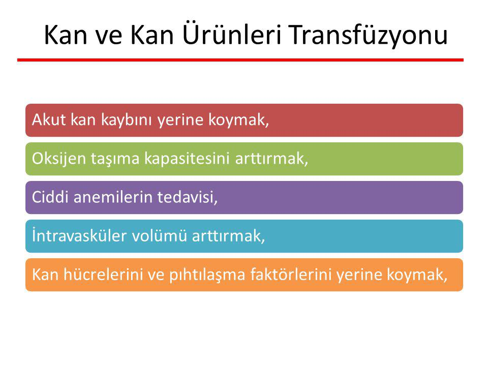 Kan ve Kan Ürünleri Transfüzyonu Akut kan kaybını yerine koymak,Oksijen taşıma kapasitesini arttırmak,Ciddi anemilerin tedavisi,İntravasküler volümü a