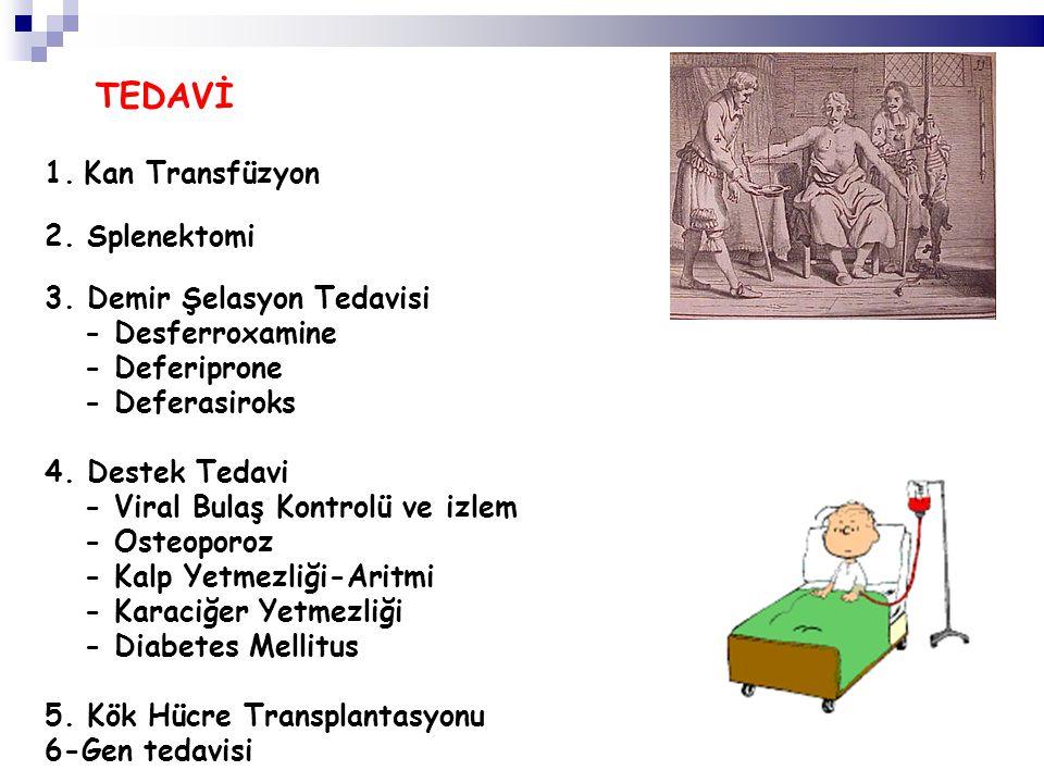 TEDAVİ 1.Kan Transfüzyon 2. Splenektomi 3. Demir Şelasyon Tedavisi - Desferroxamine - Deferiprone - Deferasiroks 4. Destek Tedavi - Viral Bulaş Kontro