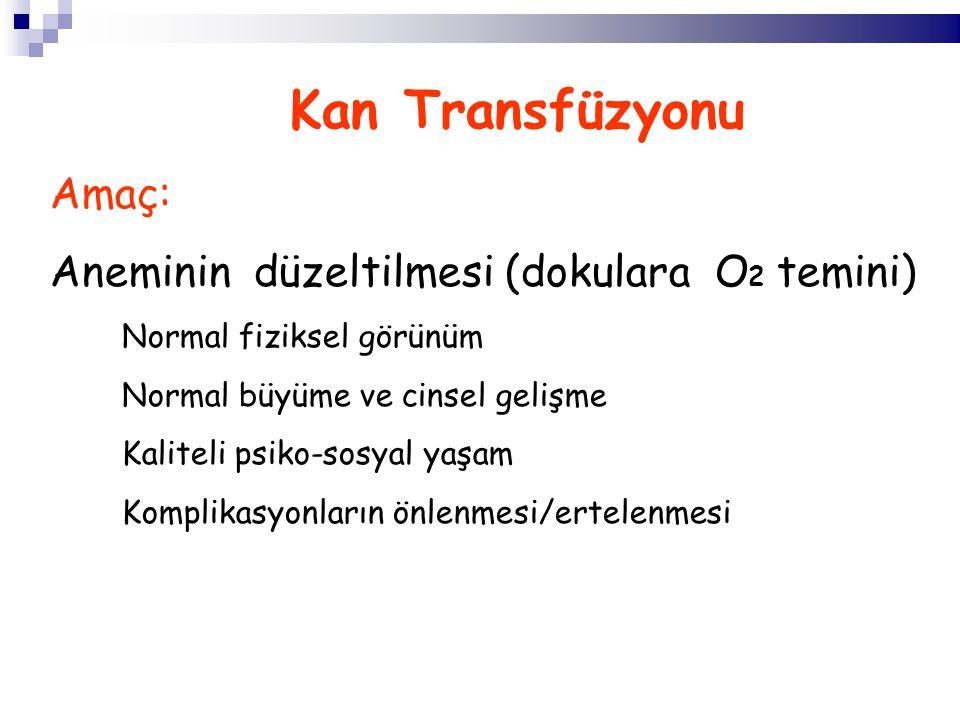 Kan Transfüzyonu Amaç: Aneminin düzeltilmesi (dokulara O 2 temini) Normal fiziksel görünüm Normal büyüme ve cinsel gelişme Kaliteli psiko-sosyal yaşam Komplikasyonların önlenmesi/ertelenmesi