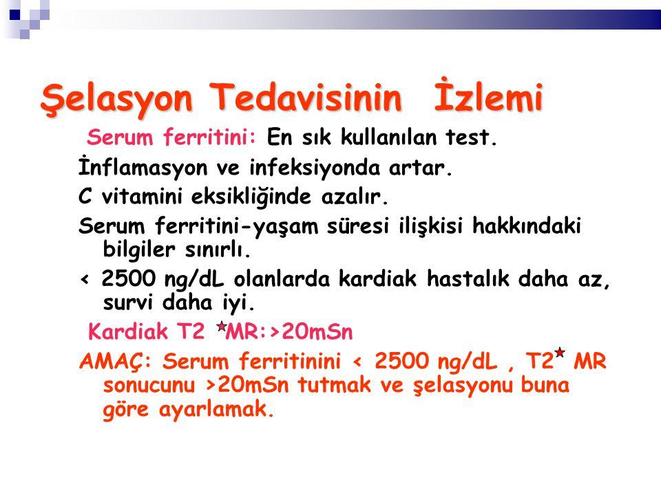 Şelasyon Tedavisinin İzlemi Serum ferritini: En sık kullanılan test.