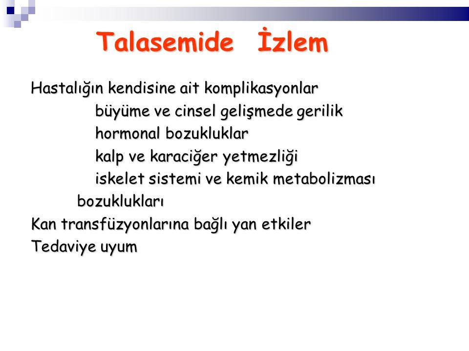 Talasemide İzlem Talasemide İzlem Hastalığın kendisine ait komplikasyonlar büyüme ve cinsel gelişmede gerilik büyüme ve cinsel gelişmede gerilik hormonal bozukluklar kalp ve karaciğer yetmezliği iskelet sistemi ve kemik metabolizması bozuklukları bozuklukları Kan transfüzyonlarına bağlı yan etkiler Tedaviye uyum