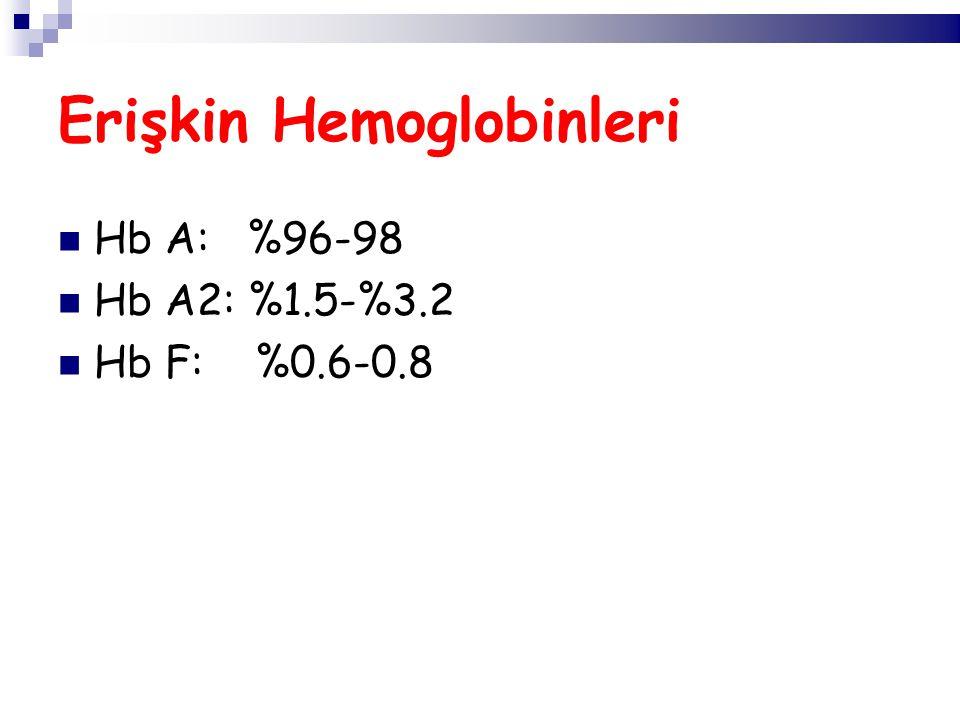 Hb A: %96-98 Hb A2: %1.5-%3.2 Hb F: %0.6-0.8 Erişkin Hemoglobinleri
