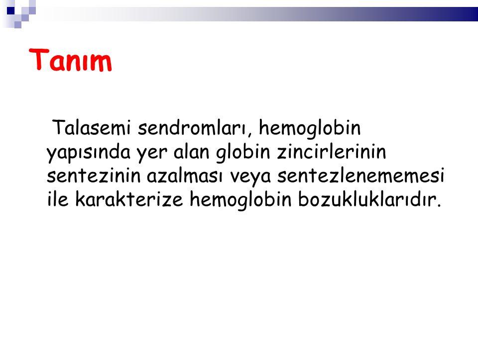 Talasemi sendromları, hemoglobin yapısında yer alan globin zincirlerinin sentezinin azalması veya sentezlenememesi ile karakterize hemoglobin bozukluk