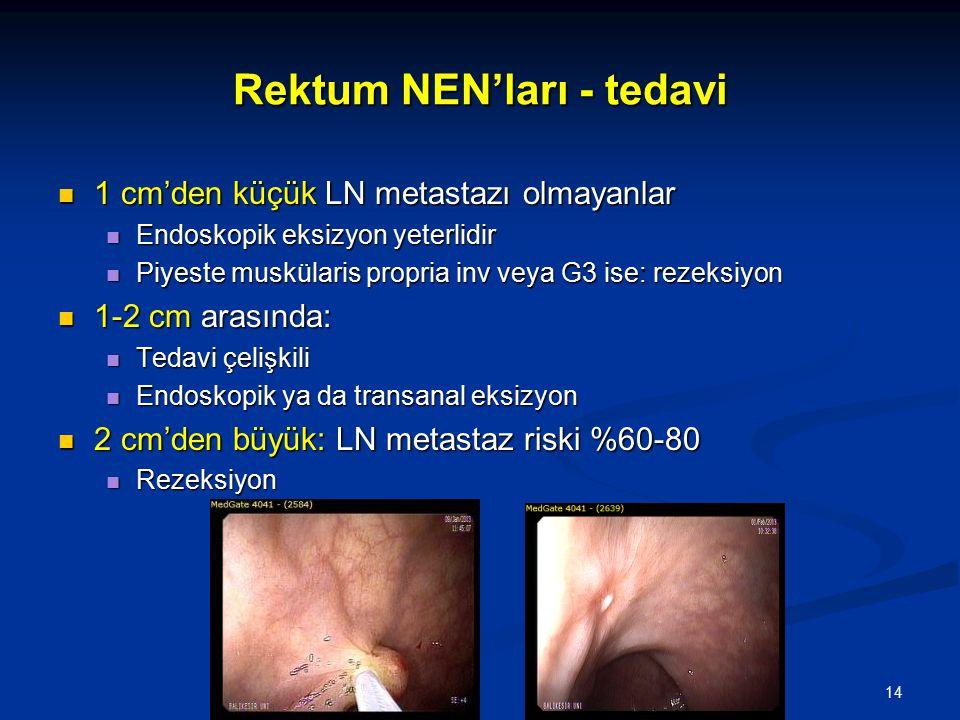 Rektum NEN'ları - tedavi 1 cm'den küçük LN metastazı olmayanlar 1 cm'den küçük LN metastazı olmayanlar Endoskopik eksizyon yeterlidir Endoskopik eksiz