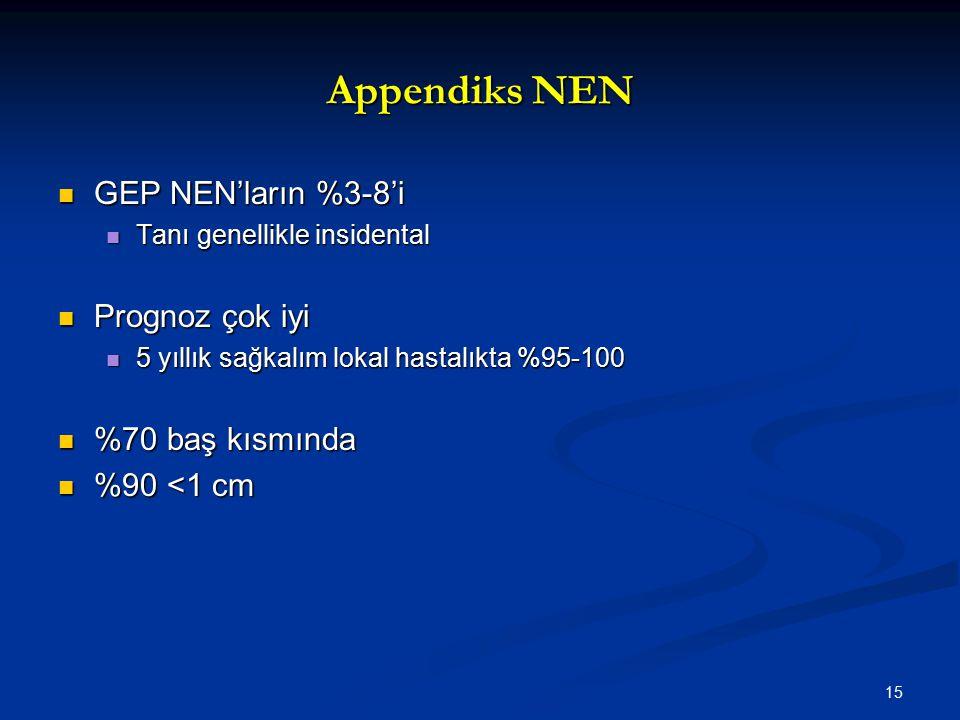 Appendiks NEN GEP NEN'ların %3-8'i GEP NEN'ların %3-8'i Tanı genellikle insidental Tanı genellikle insidental Prognoz çok iyi Prognoz çok iyi 5 yıllık