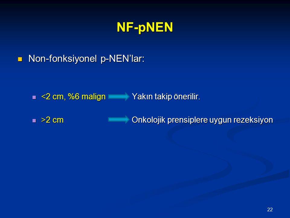 NF-pNEN Non-fonksiyonel p-NEN'lar: Non-fonksiyonel p-NEN'lar: <2 cm, %6 malign Yakın takip önerilir. <2 cm, %6 malign Yakın takip önerilir. >2 cm Onko