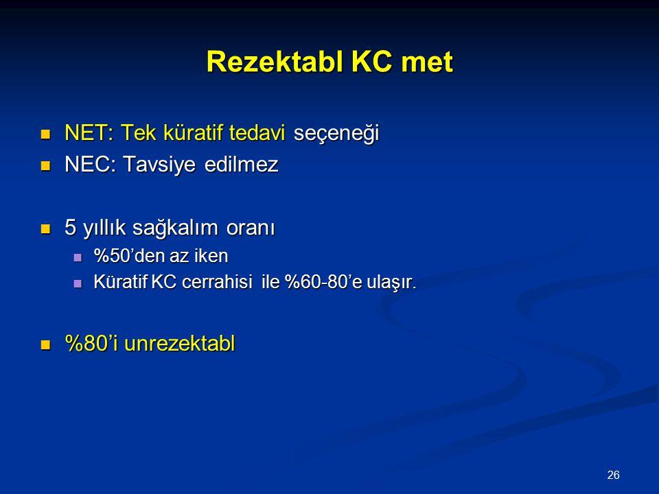 Rezektabl KC met NET: Tek küratif tedavi seçeneği NET: Tek küratif tedavi seçeneği NEC: Tavsiye edilmez NEC: Tavsiye edilmez 5 yıllık sağkalım oranı 5