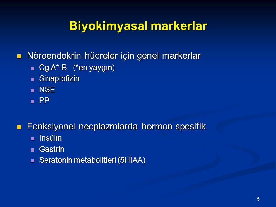 Biyokimyasal markerlar Nöroendokrin hücreler için genel markerlar Nöroendokrin hücreler için genel markerlar Cg A*-B (*en yaygın) Cg A*-B (*en yaygın)