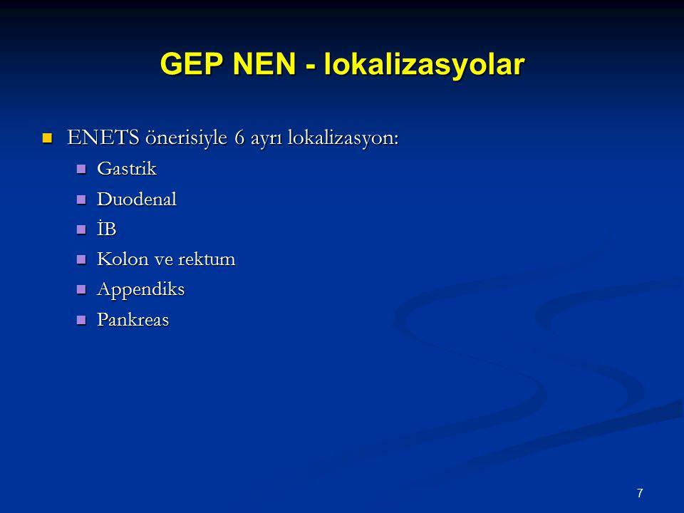 GEP NEN - lokalizasyolar ENETS önerisiyle 6 ayrı lokalizasyon: ENETS önerisiyle 6 ayrı lokalizasyon: Gastrik Gastrik Duodenal Duodenal İB İB Kolon ve