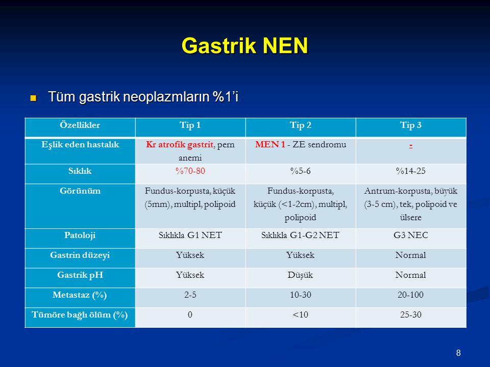 Gastrik NEN Tüm gastrik neoplazmların %1'i Tüm gastrik neoplazmların %1'i ÖzelliklerTip 1Tip 2Tip 3 Eşlik eden hastalık Kr atrofik gastrit, pern anemi