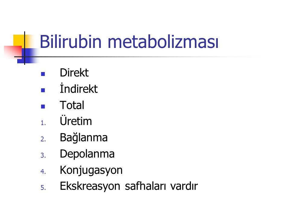 Bilirubin metabolizması Direkt İndirekt Total 1.Üretim 2.