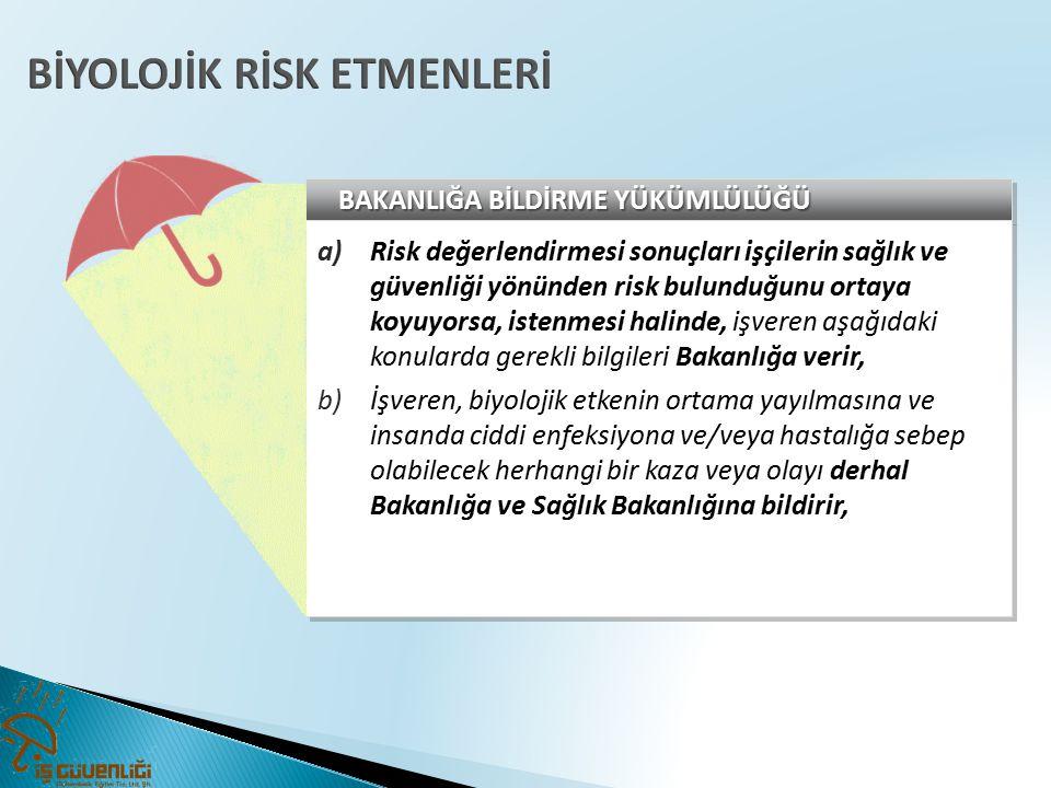 BAKANLIĞA BİLDİRME YÜKÜMLÜLÜĞÜ a)Risk değerlendirmesi sonuçları işçilerin sağlık ve güvenliği yönünden risk bulunduğunu ortaya koyuyorsa, istenmesi ha