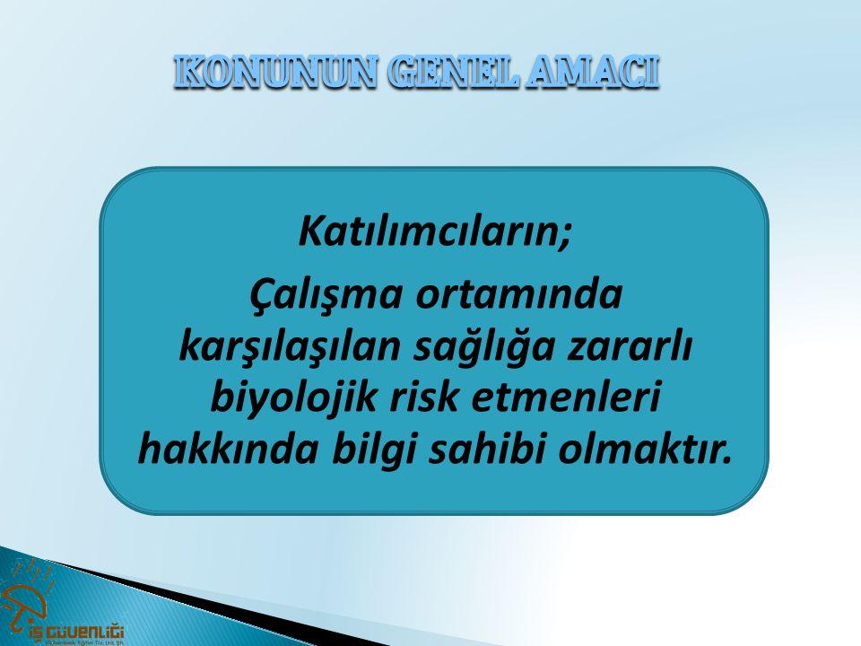 Katılımcıların; Çalışma ortamında karşılaşılan sağlığa zararlı biyolojik risk etmenleri hakkında bilgi sahibi olmaktır.