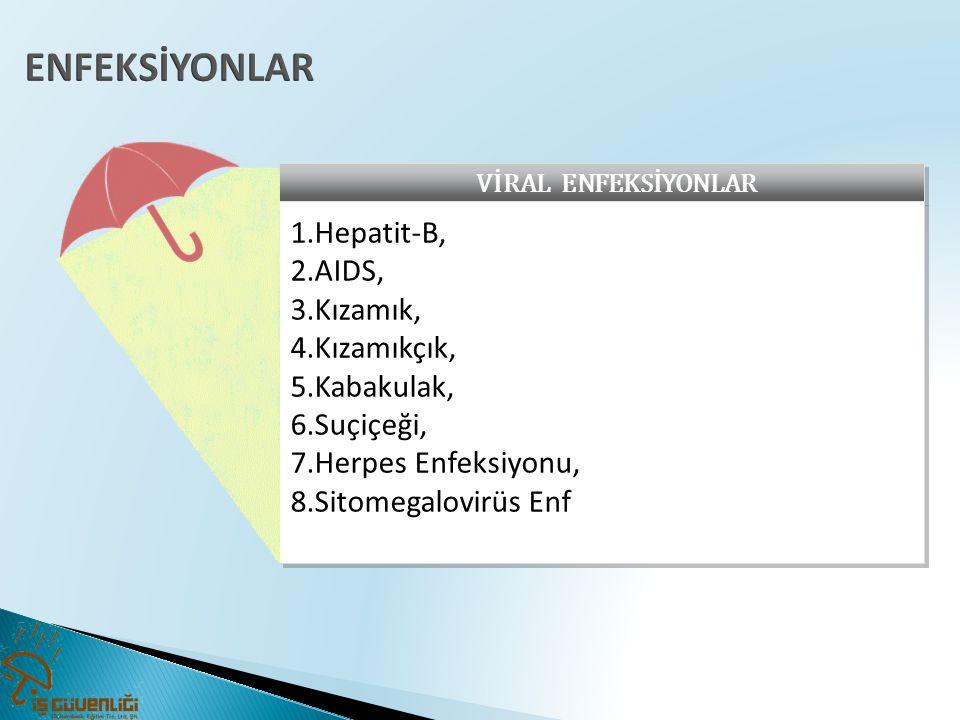 VİRAL ENFEKSİYONLAR 1.Hepatit-B, 2.AIDS, 3.Kızamık, 4.Kızamıkçık, 5.Kabakulak, 6.Suçiçeği, 7.Herpes Enfeksiyonu, 8.Sitomegalovirüs Enf 1.Hepatit-B, 2.AIDS, 3.Kızamık, 4.Kızamıkçık, 5.Kabakulak, 6.Suçiçeği, 7.Herpes Enfeksiyonu, 8.Sitomegalovirüs Enf
