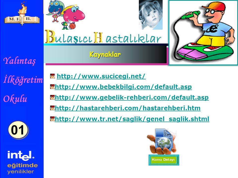 Yalıntaş İlköğretim Okulu ula ş ıcı astalıklar KaynaklarKaynaklar http://www.sucicegi.net/ http://www.bebekbilgi.com/default.asp http://www.gebelik-rehberi.com/default.asp http://hastarehberi.com/hastarehberi.htm http://www.tr.net/saglik/genel_saglik.shtml 01