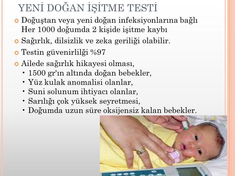 YENİ DOĞAN İŞİTME TESTİ Doğuştan veya yeni doğan infeksiyonlarına bağlı Her 1000 doğumda 2 kişide işitme kaybı Sağırlık, dilsizlik ve zeka geriliği ol
