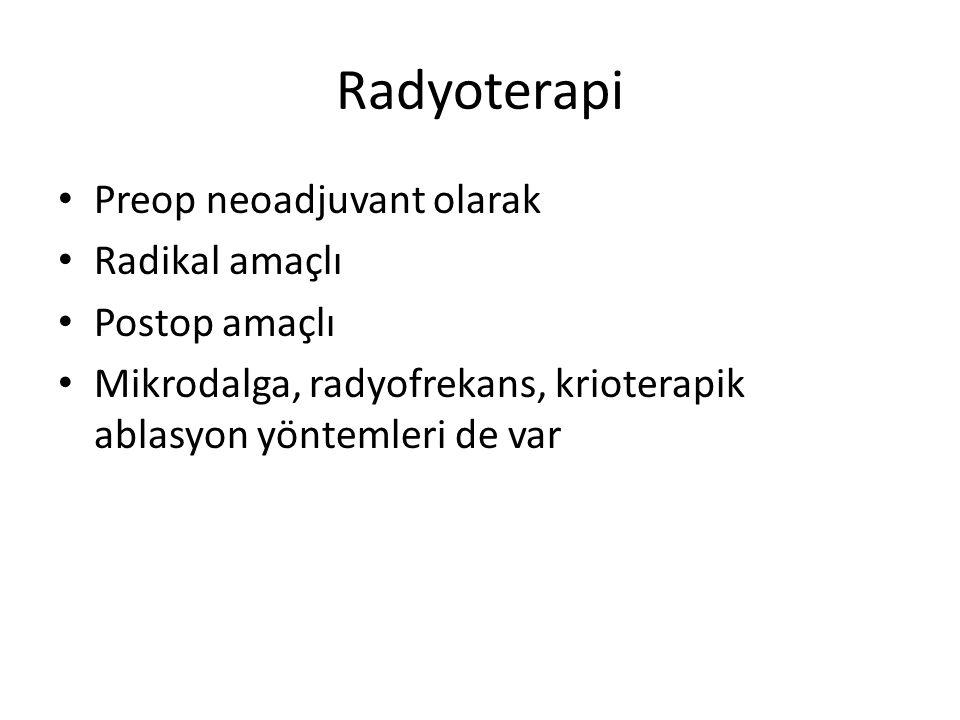 Radyoterapi Preop neoadjuvant olarak Radikal amaçlı Postop amaçlı Mikrodalga, radyofrekans, krioterapik ablasyon yöntemleri de var