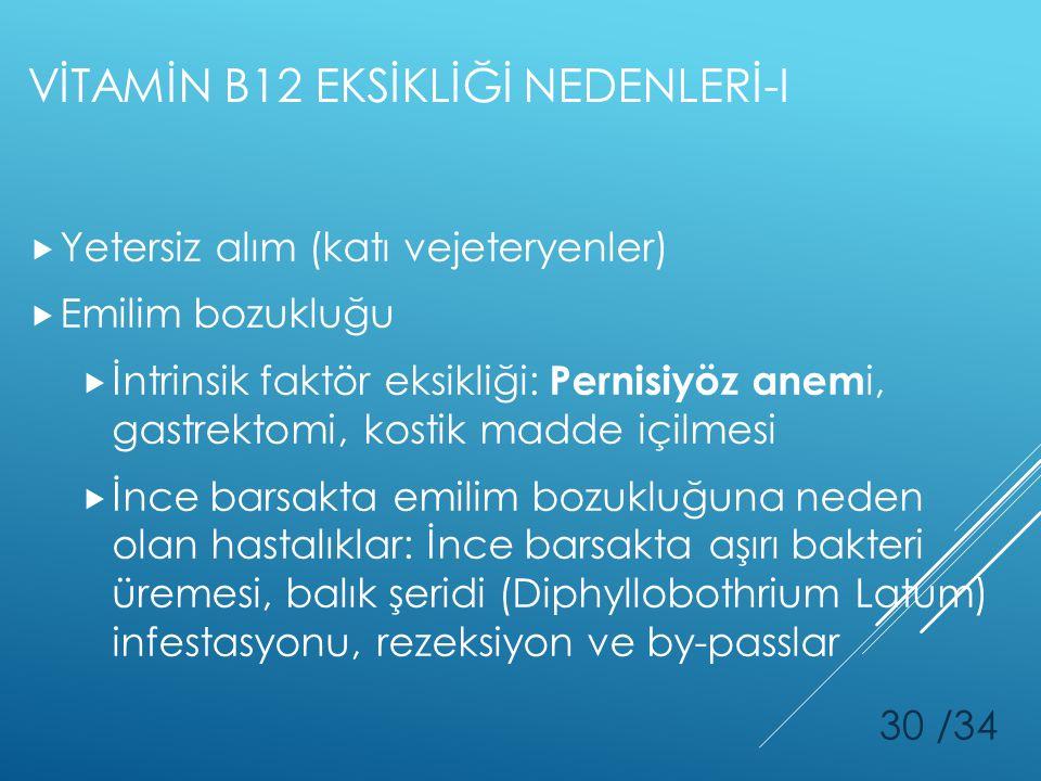VİTAMİN B12 EKSİKLİĞİ NEDENLERİ-I  Yetersiz alım (katı vejeteryenler)  Emilim bozukluğu  İntrinsik faktör eksikliği: Pernisiyöz anem i, gastrektomi
