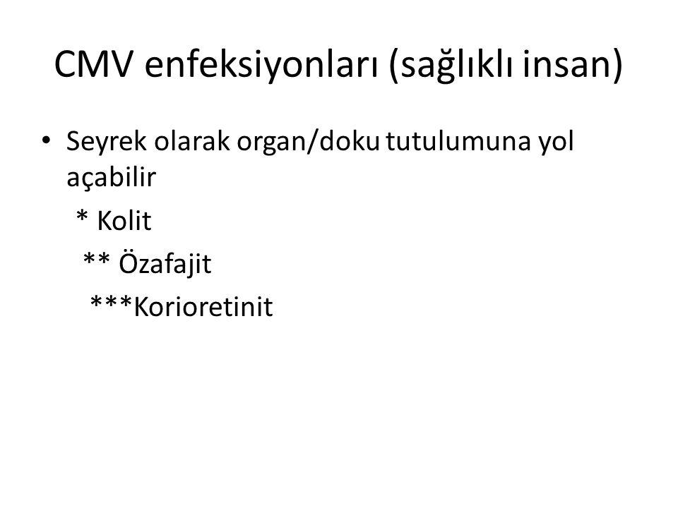 CMV enfeksiyonları (sağlıklı insan) Seyrek olarak organ/doku tutulumuna yol açabilir * Kolit ** Özafajit ***Korioretinit
