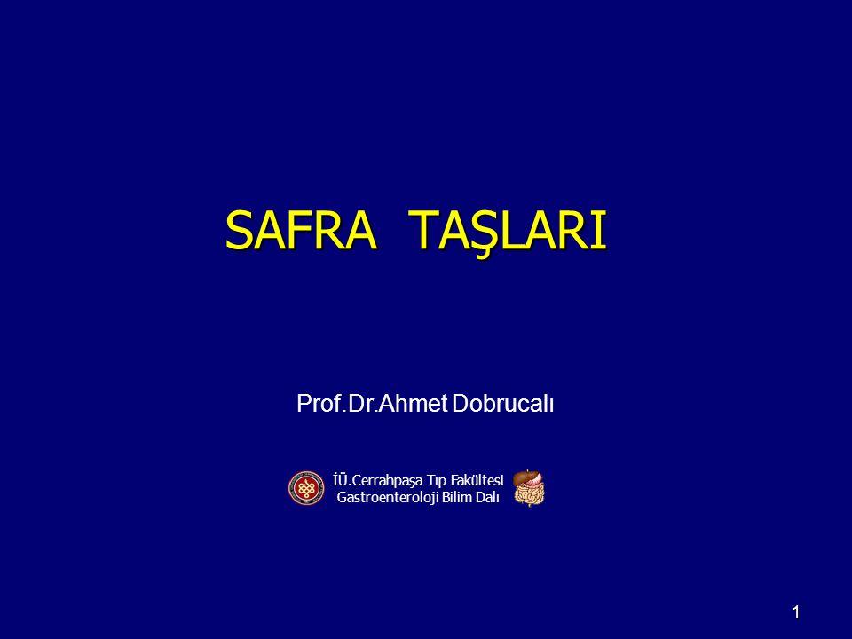 SAFRA TAŞLARI Prof.Dr.Ahmet Dobrucalı İÜ.Cerrahpaşa Tıp Fakültesi Gastroenteroloji Bilim Dalı 1