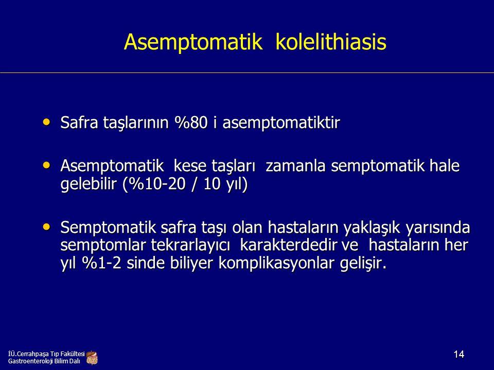 Asemptomatik kolelithiasis Safra taşlarının %80 i asemptomatiktir Safra taşlarının %80 i asemptomatiktir Asemptomatik kese taşları zamanla semptomatik