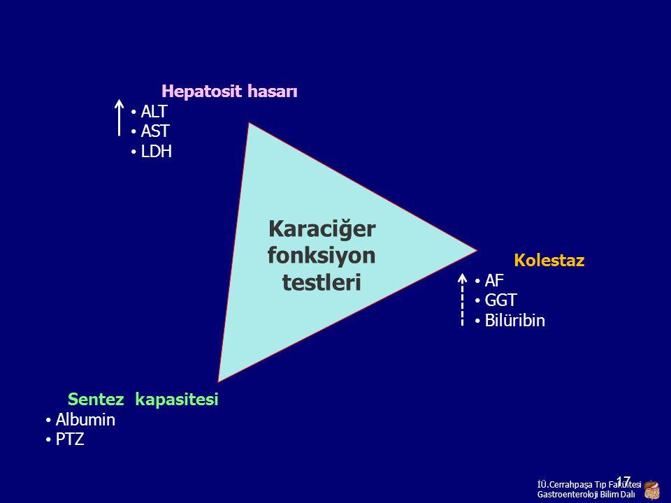 Hepatosit hasarı ALT AST LDH Kolestaz AF GGT Bilüribin Karaciğer fonksiyon testleri Sentez kapasitesi Albumin PTZ İÜ.Cerrahpaşa Tıp Fakültesi Gastroen