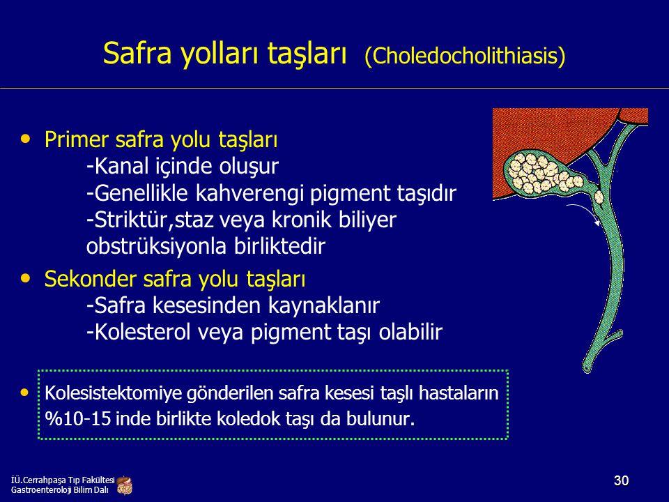 Safra yolları taşları (Choledocholithiasis) Primer safra yolu taşları -Kanal içinde oluşur -Genellikle kahverengi pigment taşıdır -Striktür,staz veya