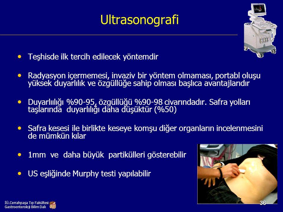Ultrasonografi Teşhisde ilk tercih edilecek yöntemdir Radyasyon içermemesi, invaziv bir yöntem olmaması, portabl oluşu yüksek duyarlılık ve özgüllüğe