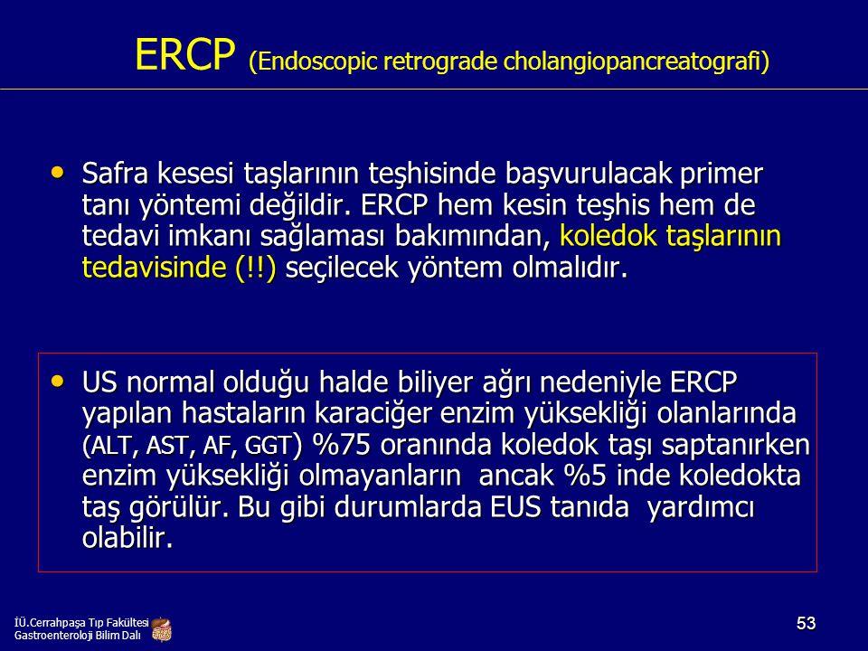 ERCP (Endoscopic retrograde cholangiopancreatografi) Safra kesesi taşlarının teşhisinde başvurulacak primer tanı yöntemi değildir. ERCP hem kesin teşh