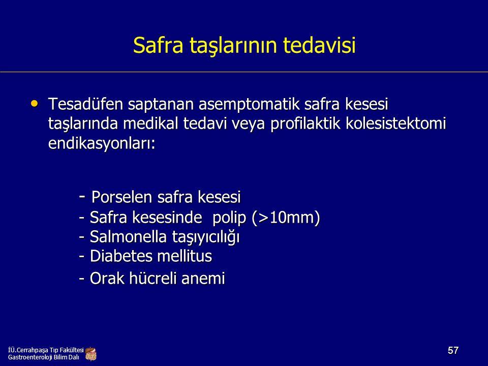 Safra taşlarının tedavisi Tesadüfen saptanan asemptomatik safra kesesi taşlarında medikal tedavi veya profilaktik kolesistektomi endikasyonları: Tesad