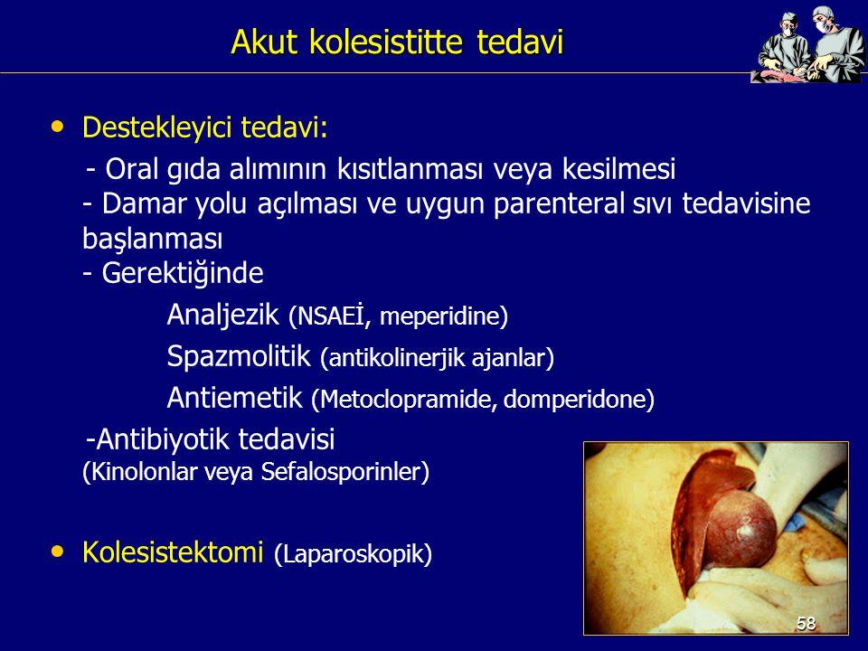 Akut kolesistitte tedavi Destekleyici tedavi: - Oral gıda alımının kısıtlanması veya kesilmesi - Damar yolu açılması ve uygun parenteral sıvı tedavisi