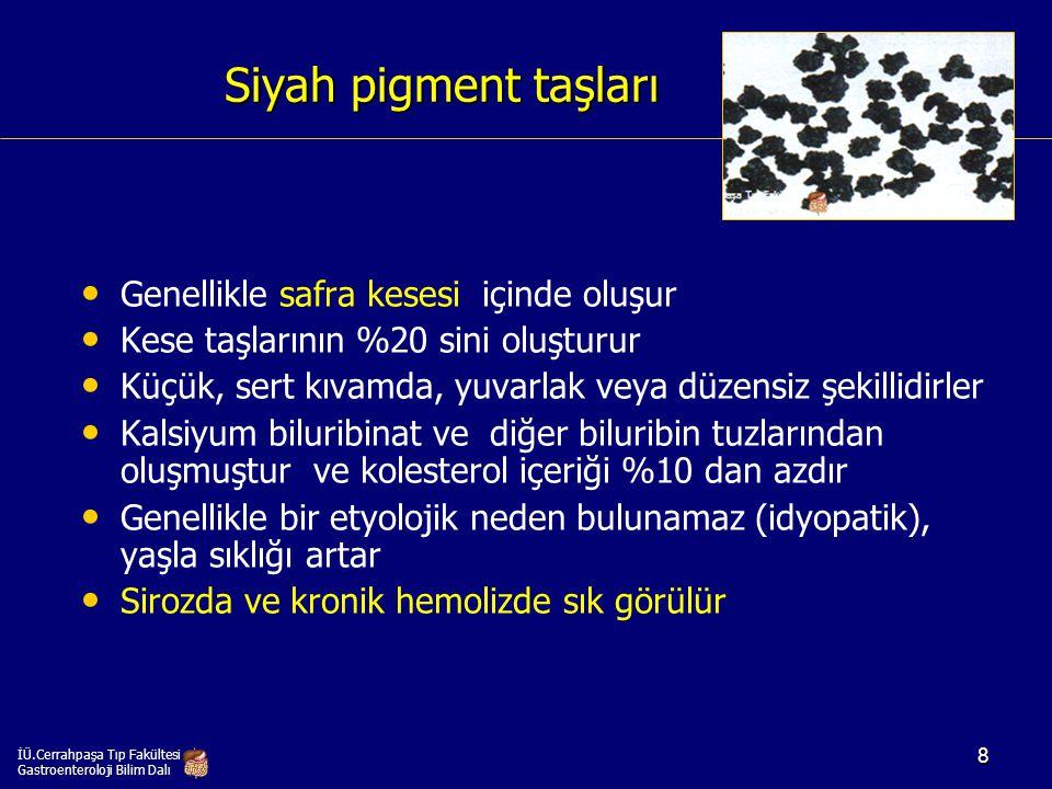 Kahverengi pigment taşları safra yollarında oluşur Genellikle safra yollarında oluşur Safra yolları taşlarının %50 sini oluşturur Safra yolları taşlarının %50 sini oluşturur Küçük veya büyük hacimli ve değişik şekillerde olabilir, genelde yumuşak kıvamlıdır Küçük veya büyük hacimli ve değişik şekillerde olabilir, genelde yumuşak kıvamlıdır Kalsiyum biluribinat ve yağ asitlerinden oluşmuştur, %10-30 oranında kolesterol içerebilir Kalsiyum biluribinat ve yağ asitlerinden oluşmuştur, %10-30 oranında kolesterol içerebilir Safra yollarında kronik staz, enfeksiyon, striktür ve biliyer parazit varlığı ile birliktelik gösterebilir Safra yollarında kronik staz, enfeksiyon, striktür ve biliyer parazit varlığı ile birliktelik gösterebilir İÜ.Cerrahpaşa Tıp Fakültesi Gastroenteroloji Bilim Dalı 9