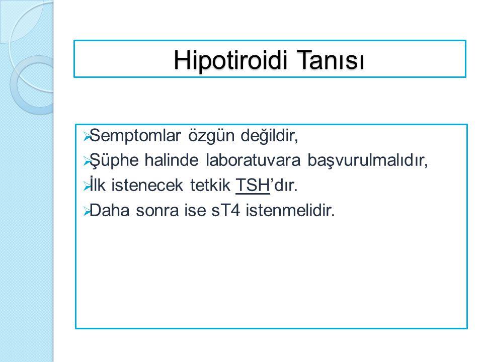 Hipotiroidi Tanısı  Semptomlar özgün değildir,  Şüphe halinde laboratuvara başvurulmalıdır,  İlk istenecek tetkik TSH'dır.  Daha sonra ise sT4 ist