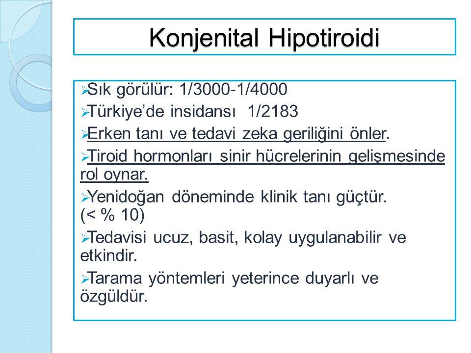 Konjenital Hipotiroidi  Sık görülür: 1/3000-1/4000  Türkiye'de insidansı 1/2183  Erken tanı ve tedavi zeka geriliğini önler.  Tiroid hormonları si