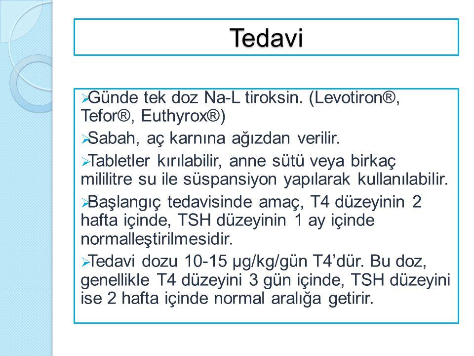 Tedavi  Günde tek doz Na-L tiroksin. (Levotiron®, Tefor®, Euthyrox®)  Sabah, aç karnına ağızdan verilir.  Tabletler kırılabilir, anne sütü veya bir