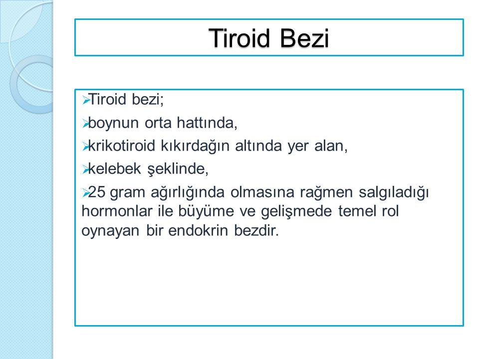 Tiroid Bezi  Tiroid bezi;  boynun orta hattında,  krikotiroid kıkırdağın altında yer alan,  kelebek şeklinde,  25 gram ağırlığında olmasına rağme