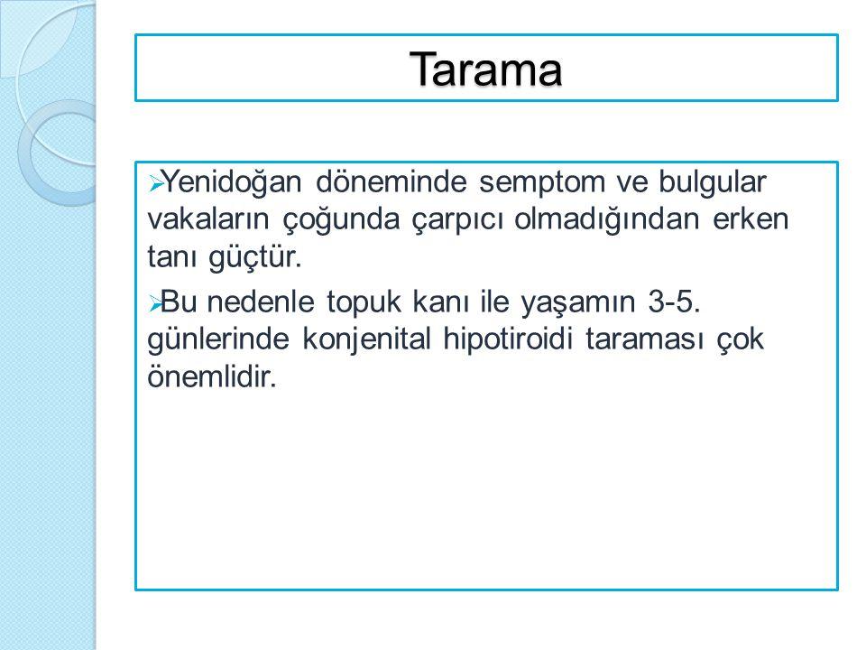 Tarama  Yenidoğan döneminde semptom ve bulgular vakaların çoğunda çarpıcı olmadığından erken tanı güçtür.  Bu nedenle topuk kanı ile yaşamın 3-5. gü