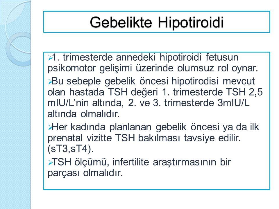 Gebelikte Hipotiroidi  1. trimesterde annedeki hipotiroidi fetusun psikomotor gelişimi üzerinde olumsuz rol oynar.  Bu sebeple gebelik öncesi hipoti