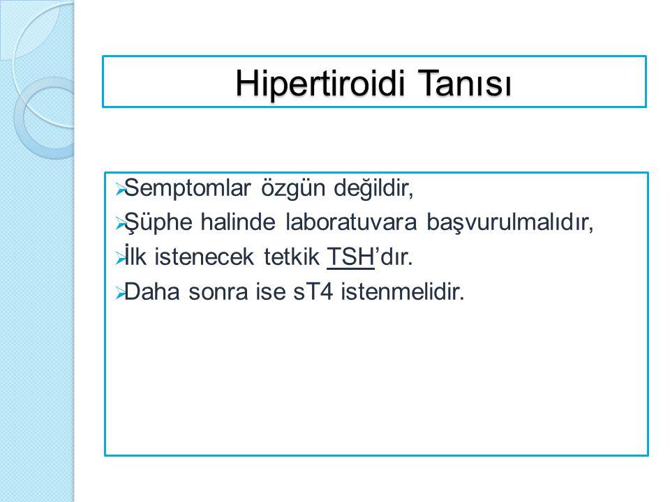 Hipertiroidi Tanısı  Semptomlar özgün değildir,  Şüphe halinde laboratuvara başvurulmalıdır,  İlk istenecek tetkik TSH'dır.  Daha sonra ise sT4 is