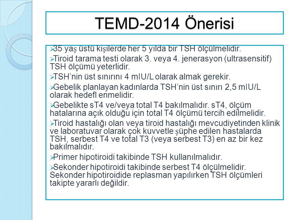 TEMD-2014 Önerisi  35 ya üstü kiilerde her 5 yılda bir TSH ölçülmelidir.  Tiroid tarama testi olarak 3. veya 4. jenerasyon (ultrasensitif) TSH ölçüm