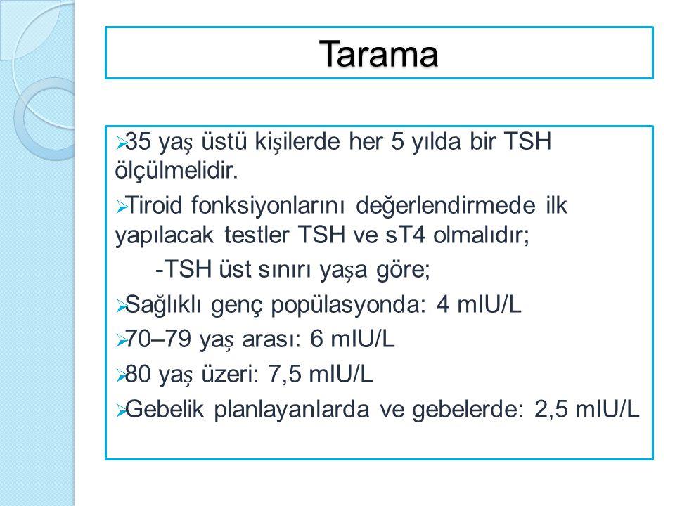 Tarama  35 ya üstü kiilerde her 5 yılda bir TSH ölçülmelidir.  Tiroid fonksiyonlarını değerlendirmede ilk yapılacak testler TSH ve sT4 olmalıdır; -T