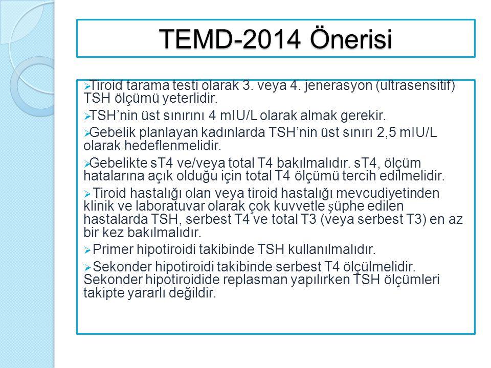 TEMD-2014 Önerisi  Tiroid tarama testi olarak 3. veya 4. jenerasyon (ultrasensitif) TSH ölçümü yeterlidir.  TSH'nin üst sınırını 4 mIU/L olarak alma
